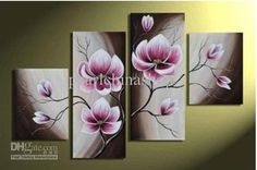 Wholesale 100% hand draw abstract modern oil painting on canvas Beautiful Purple flower, Free shipping, $36.6-47.38/Set | DHgate