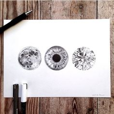 The moon and eye and a diamond #drawing ✏️ Artist:@thorupart
