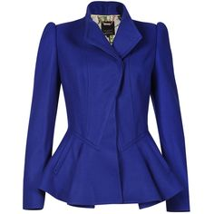 Ted Baker Blazer with Peplum in Bright Blue ($405) ❤ liked on Polyvore