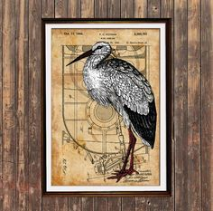 Stork print. Bird poster. Patent decor. Steampunk print. This Steampunk style poster combines a print of a real US patent with a colorful image of