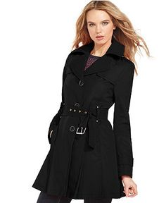 Kenneth Cole Coat, Belted Pleated Trench - Coats - Women - Macy's