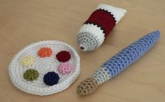 crochet paint, brush & palette set by planetjune, via Flickr.