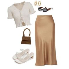 Casual summer outfit idea with gold silk skirt - Summer Outfits Casual Summer Outfits, Classy Outfits, Chic Outfits, Spring Outfits, Trendy Outfits, Fashion Outfits, Womens Fashion, Dress Casual, Petite Fashion