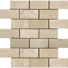 "Travertine 2"" x 4/12"" x 12 Offset Mosaic Tile in Ancient Beige"
