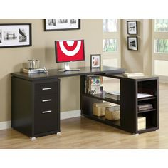 Hollow Core Left Or Right Facing Corner Desk - Cappuccino - Monarch Specialties (Cool Gadgets For Bedrooms)