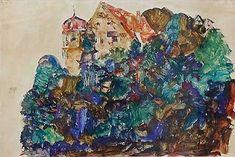 Egon Schiele - 1912 Deuring Castle, Bregenz oil on wood Edvard Munch, Gustav Klimt, Wassily Kandinsky, Egon Schiele Landscape, Gouache, Vincent Van Gogh, The Embrace, Museum, Art Database