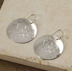 For $39 these Monogram Round sterling silver hammered earrings are absolutely beautiful!