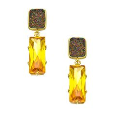 Andara Yellow Cubic Zirconia Baguette Druzy Earrings ($125) ❤ liked on Polyvore