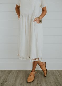 Linen Dress with Tassel Fringe | ROOLEE
