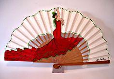 RITA LA BAILAORA EN ROJO Painted Fan, Hand Fan, Diy Art, Lady In Red, Origami, Shabby Chic, Creative, Spanish, Handmade