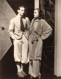 """Adrian and Greta Garbo on the set of """"The Single Standard"""" 1929"""