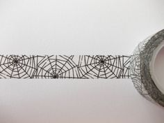 Cobwebs Washi Tape Black and White Tape 15mm x by WhiteDaisyPetals