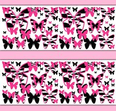 HOT PINK ZEBRA Butterfly Wallpaper Border Wall Decals Animal Print Teen Girls Safari Room Baby Nursery Kids Childrens Art Stickers Decor #decampstudios
