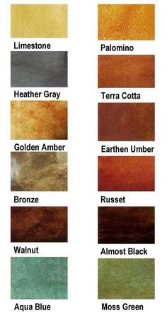 A Variety of Beautiful colors for Stenciled and Stained concrete floors