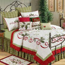 amazoncom 90x92 fullqueen size quilt set holiday garland christmas beddingchristmas - Christmas Bedding Holiday Bedding