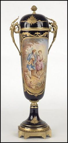 SEVRES STYLE BRONZE MOUNTED GILT AND PAINTED PORCELAIN COVERED URN
