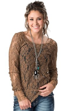 Katydid Collection® Women's Distressed Brown Lace Long Sleeve Fashion Top
