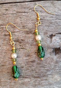 Lampwork and Pearl Earrings, Dangle Earrings  #Etsy #handmade #jewelry #promotingwomen
