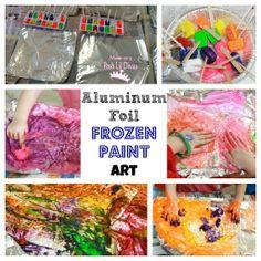 Mom to 2 Posh Lil Divas: Aluminum Foil Frozen Paint Art in Preschool