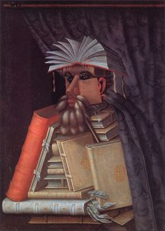 Giuseppe Arcimboldo, The Librarian (c. 1570). OK, this is a painting about librarian/ books; it's not actually made from books.