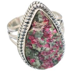 Rough Russian Eudialyte 925 Sterling Silver Ring Size 7.75 RING766352