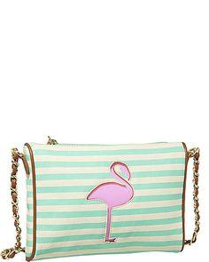 Betsey Johnson flamingo Crossbody purse in green