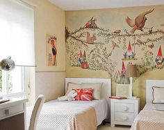 wall painting and white furniture for kids room design
