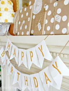 Simple Birthday Banner - white canvas, gold paint, stencils and twine