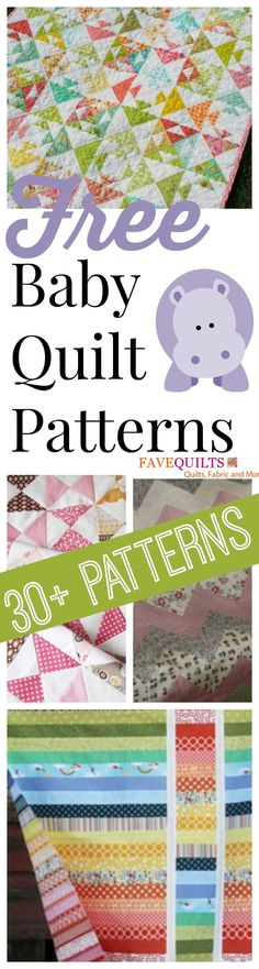 40 Free Baby Quilt Patterns - As quilters, the first thing we think of when a new baby comes along is what kind of quilt 40 Free Baby Quilt Patterns! You can't go wrong with these adorable baby quilts (Diy Baby Quilt) Quilting Tutorials, Quilting Projects, Quilting Designs, Sewing Projects, Easy Projects, Quilting Patterns, Quilting Ideas, Baby Quilt Tutorials, Jellyroll Quilts