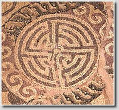 A very simple serpentine-type mosaic labyrinth, Paphos, Cyprus