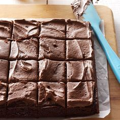 Frosted Fudge Brownies Recipe -A neighbor brought over a pan of these rich…