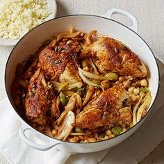 Moroccan Chicken Stew  - Fitnessmagazine.com  434 calories per serving. Skip the couscous to reduce carbs & calories