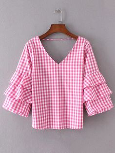Online shopping for Layered Ruffle Sleeve Open Back Plaid Top from a great selection of women's fashion clothing & more at MakeMeChic.COM.