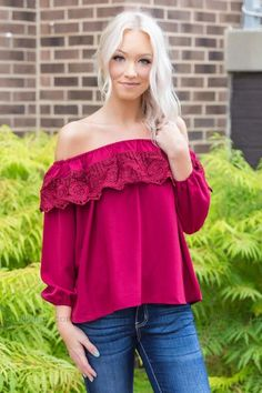 b1936815892d50 *091018 So Into You Off the Shoulder Top in Burgundy - Filly Flair Tops  Online