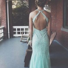 Light blue prom dresses with open back sparkly beaded bodice long tulle mermaid dress