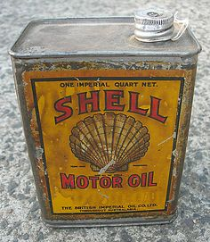 Shell Motor Oil vintage garage tin from Old Sydney Signs - #vintage #design #packaging