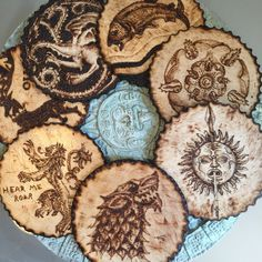 Handmade Woodburnt Game of Thrones coasters!! Getting ready for the next season !!