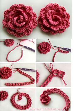 It is not as difficult as it looks to crochet a Beautiful Lace Ribbon Rose. These crochet pretty lace roses would be a fabulous addition.tığla çiçek yapımı -crochet flower how-toannotated crochet flower Really nice crocheted flower -- page written i Crochet Flower Tutorial, Crochet Diy, Crochet Motifs, Crochet Flower Patterns, Love Crochet, Crochet Crafts, Yarn Crafts, Crochet Flowers, Crochet Stitches