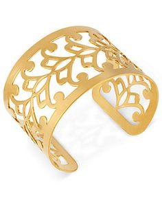 Hint of Gold 14k Gold-Plated Bracelet, Filigree Cuff Bracelet - Bracelets - Jewelry & Watches - Macy's