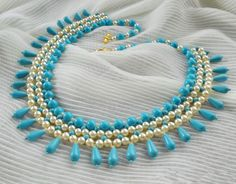 Free pattern for beaded necklace Turquoise & Pearls      U need:  seed beads 11/0  pearl beads 8 mm  pearl beads 6 mm  pea