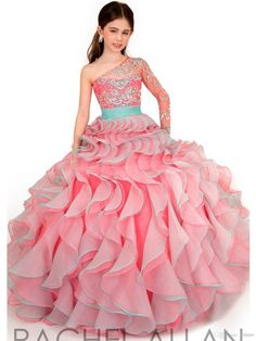 Hot Sale 2015 Ball Gown Little Girls Pageant Dresses One Shoulder Long Sleeve Cheap Flower Girls' Dress For Weddings AF19