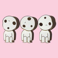 Spinning Head Kodama Pin Princess Mobile, Ghibli, Kawaii, Cosmic Mermaid Pins