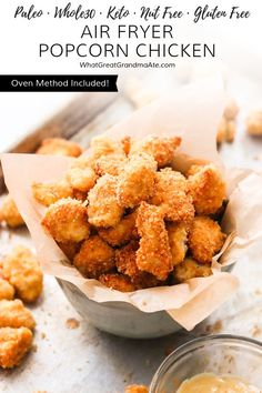 Air Fryer Keto Popcorn Chicken (Paleo, – Oven Method Included Easy and extra crunchy Air Fryer keto popcorn chicken that's perfect for a snack or a meal! Air Fryer Recipes Keto, Paleo Recipes, Low Carb Recipes, Real Food Recipes, Chicken Recipes, Dinner Recipes, Breakfast Recipes, Lunch Recipes, Breakfast Ideas