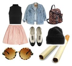 """""""Perfect Nightmare"""" by v4ndaleyes ❤ liked on Polyvore featuring Miss Selfridge, Miu Miu, H&M, ASOS, vintage inspired, leopard print, skater skirts, beanies and denim"""