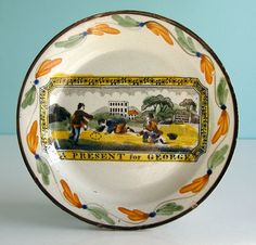 Superb Staffordshire Creamware Child's Plate ~ A PRESENT for GEORGE ~ c1820