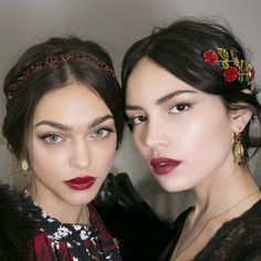"runwayandbeauty: "" Zhenya Katava and Irina Sharipova - Backstage at Dolce & Gabbana Fall/Winter 2015. Credits: Harper's Bazaar Instagram """