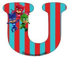 Hermoso Abecedario de los Héroes en Pijamas, o Pj Masks, como más te guste llamarlo. Todas las letras que contienen aCatboy, Gekko y Owlette se encuentran subidas al sitio en perfecta calidad de i… Pj Mask, Mask Party, Peppa Pig, Banner, Symbols, Birthday, Masks, Alphabet, Ideas Party