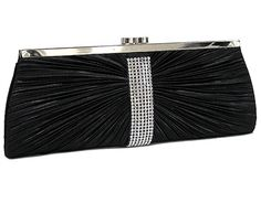BLACK SATIN AND DIAMANTE HARD BACK CLUTCH BAG, £12.00