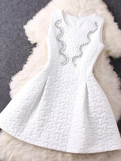 Beaded Neck Sleeveless Dress