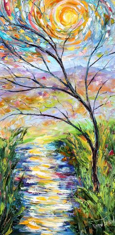Original Oil Sunset Landscape palette knife painting ABSTRACT modern texture fine art impressionism by Karen Tarlton